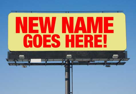 A sign saying 'NEW NAME GOES HERE'