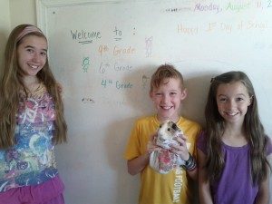 Avery, Addison and Toby all smiles on 1st day of school