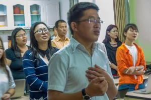 Mongolians praying